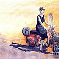 Audrey Hepburn and Vespa in Roma Holidey  Poster by Yuriy  Shevchuk