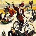 Funny Scenes of Bicycles and Roller Skates Print by Nomad Art And  Design