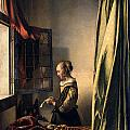 Girl Reading a Letter by an Open Window Print by Johannes Vermeer