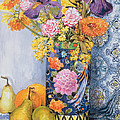 Iris and Pinks in a Japanese Vase with Pears Poster by Joan Thewsey