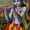 Krishna with flute  Poster by Vrindavan Das