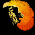 lion illustration print silhouette print NIGHT PREDATOR Print by Sassan Filsoof
