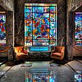 Allegheny Cemetery Mausoleum Stained Glass HDR 1 Print by Amy Cicconi