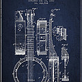 Banjo patent Drawing from 1882 - Blue Poster by Aged Pixel