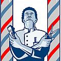 Barber With Pole Hair Clipper and Scissors Retro Print by Aloysius Patrimonio