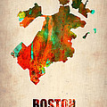 Boston Watercolor Map  Poster by Irina  March