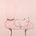 Cat on a Vanity Chair Poster by Christine Corretti