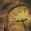 Closeup of old clock frozen in ice Print by Sandra Cunningham