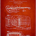Fender Floating Tremolo patent Drawing from 1961 - Red Print by Aged Pixel