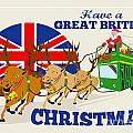 Great British Christmas Santa Reindeer Doube Decker Bus Print by Aloysius Patrimonio