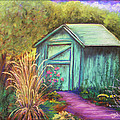 Green Garden Shed Print by Janet Hull