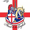 Happy St George Day Proud to Be English Retro Poster Poster by Aloysius Patrimonio