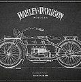Harley Davidson Motorcycle Patent Drawing From 1919 Poster by Aged Pixel