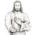 Jesus Offering His Hand Print by Jaison Cianelli