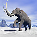 Large Mammoth Walking Slowly Print by Elena Duvernay