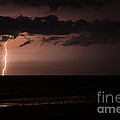 Lightning Over the Ocean Print by Dawna  Moore Photography