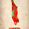 Manhattan Watercolor Map Poster by Irina  March