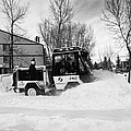 municipal city mini tractor clearing sidewalks and roads in Saskatoon Saskatchewan Canada Print by Joe Fox