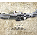 Old Crow P-51 Mustang - Map Background Poster by Craig Tinder