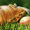 Old glove and baseball Print by Sandra Cunningham