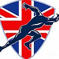 Runner Sprinter Start British Flag Shield Poster by Aloysius Patrimonio