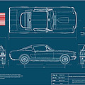 Shelby Mustang GT350 Blueplanprint Poster by Douglas Switzer