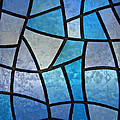 Stained glass background with ice flowers Print by Kiril Stanchev