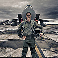 U.s. Air Force Pilot Standing In Front Poster by Terry Moore