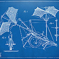 1879 Quinby Aerial Ship Patent Minimal - Blueprint Print by Nikki Marie Smith
