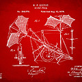 1879 Quinby Aerial Ship Patent - Red Print by Nikki Marie Smith