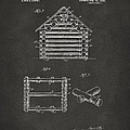 1920 Lincoln Log Cabin Patent Artwork - Gray Print by Nikki Marie Smith