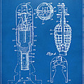 1921 Explosive Missle Patent Minimal Blueprint Print by Nikki Marie Smith