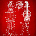 1921 Explosive Missle Patent Minimal Red Print by Nikki Marie Smith