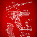 1937 Police Remington Model 8 Magazine Patent Artwork - Red Poster by Nikki Marie Smith