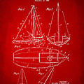 1948 Sailboat Patent Artwork - Red Print by Nikki Marie Smith