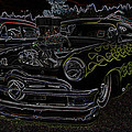 1950 Ford Coupe Neon Glow Poster by Steve McKinzie