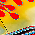 1954 Studebaker Champion Coupe Hot Rod Red With Flames - Grille Emblem Print by Jill Reger