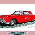 1963 Ford Thunderbird Poster by Jack Pumphrey