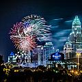 4th of july firework over charlotte skyline Print by Alexandr Grichenko