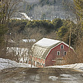 Country Road And Barn In Winter Maine Poster by Keith Webber Jr
