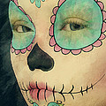 Day of The Dead - Sugar Skull Portrait Print by Liam Liberty