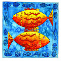2 FISH SQUARE Print by Julie Nicholls