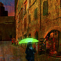 Green Umbrella Print by Patrick J Osborne