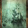 Grungy Historic Seaport Schooner Print by John Stephens