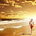Healthy woman running on the beach Print by Anna Omelchenko