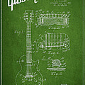 Mccarty Gibson Les Paul guitar patent Drawing from 1955 - Green Print by Aged Pixel