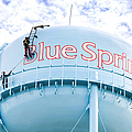 2 Men Painting The Blue Springs Water Tower  Poster by Andee Photography