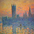 Monet's The Houses Of Parliament At Sunset Poster by Cora Wandel