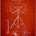 Portable Drum patent Drawing from 1903 - Red Print by Aged Pixel