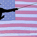 Silhouette of a Fisherman Holding a Fishing Pole Print by James BO  Insogna